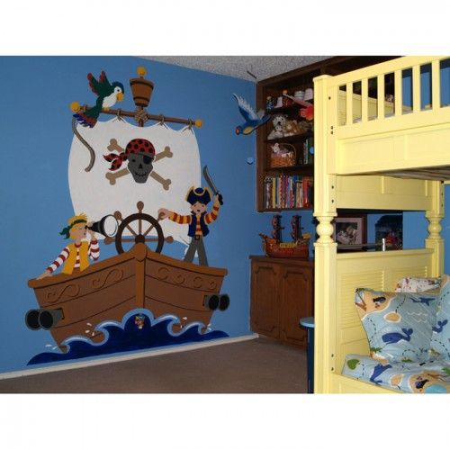 Bucaneer Pirate Ship Paint by Numbers Wall Mural for Kids