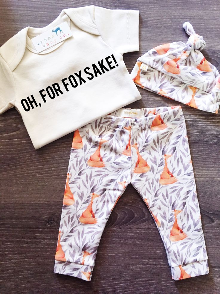 Organic Baby Girl, Boy, Onesie®, One Piece, Bodysuit, Leggings, Pants, Top Knot, Hat, Cap, Fox, Modern, Boho, Set, Bundle