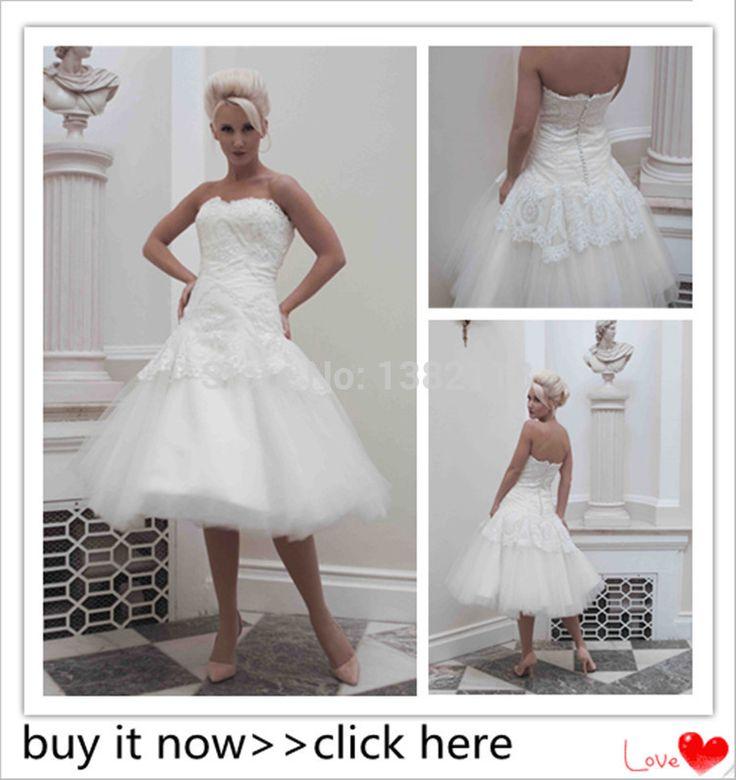 Короткое свадебное платье бальное платье 2015 горячая распродажа белое кружево свадебные платья без бретелек покрыты кнопку зима платье невесты одеяние де Mariage