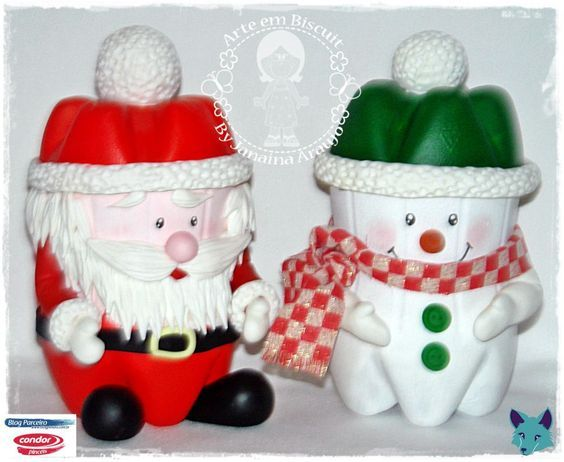 snowman and santa claus made with plastic bottle