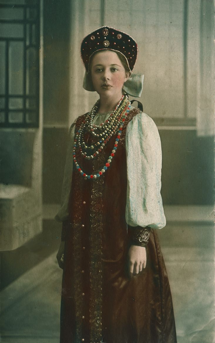 Girl in a Russian traditional costume, 1913.