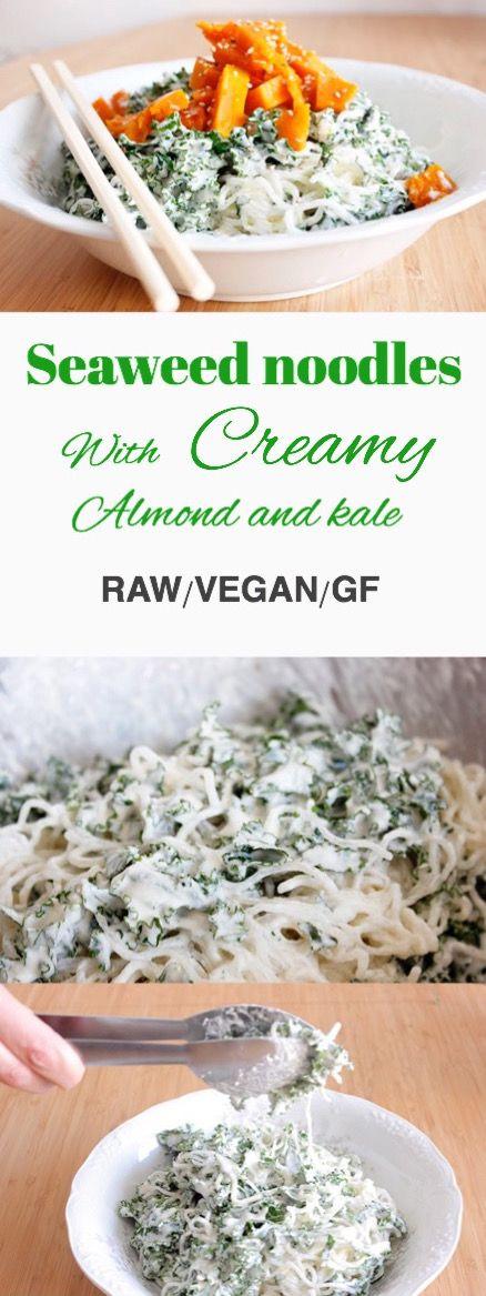 Seaweed or Kelp noodles with creamy almond and kale sauce.  Raw / Vegan / Gluten-free. Noodles de algas con salsa cremosa de almendra marcona y Kale. Reinas y Repollos