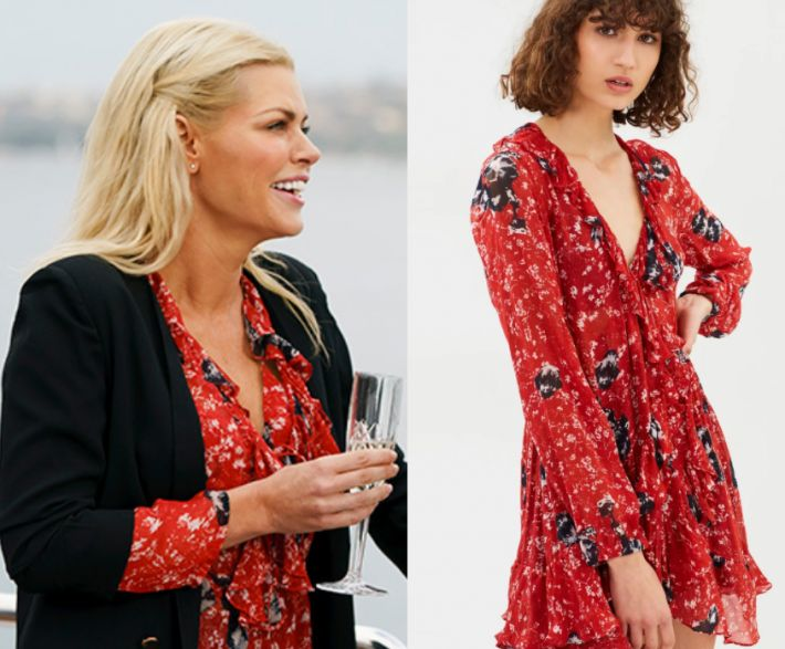 Sophie Monk wears this red tie neck floral printed dress in this episode of The Bachelorette Australia on Wendesday October 11th, 2017. It is the IRO Vilia Dress.