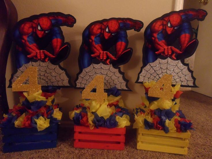 Spiderman Centerpieces Kaden S 4th Birthday Pinterest