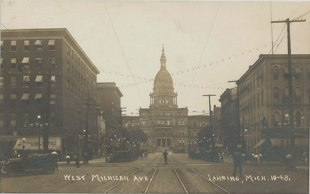 Lansing MI RPPC STATE CAPITOL Stores Businesses Hotels Restaurants Saloons Clothing Stores near Capitol Electrical Engineering Co & Chicago Market