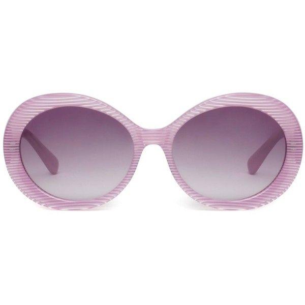 Heidi London - Pink Stripe Oval Sunglasses (2.986.345 IDR) ❤ liked on Polyvore featuring accessories, eyewear, sunglasses, stripe sunglasses, uv protection sunglasses, striped glasses, gradient lens sunglasses and oval sunglasses