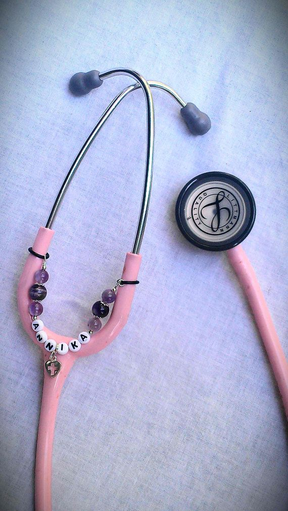 Etsy listing at http://www.etsy.com/listing/101721761/stethoscope-id-tag-amethyst-name-chain