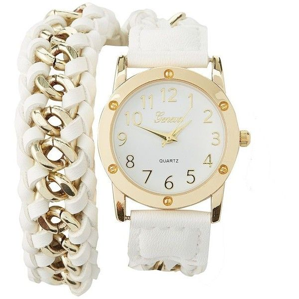 Charlotte Russe Braided Chain Strap Wrap Watch ($23) ❤ liked on Polyvore featuring jewelry, watches, accessories, bracelets, relogio, white, white watches, wrap strap watches, wrap watch and chunky watches