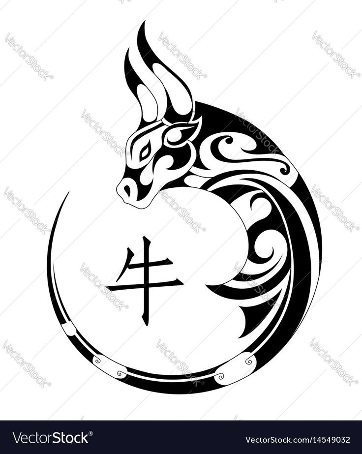Ox tribal tattoo. Chinese zodiac symbol. Hieroglyph translation: Ox. Download a Free Preview or High Quality Adobe Illustrator Ai, EPS, PDF and High Resolution JPEG versions.