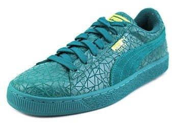Puma Suede Crackle Round Toe Leather Sneakers.
