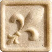 """Found it at Wayfair - Romancing the Stone 2"""" x 2"""" Compressed Stone Fleur de Lis Insert in Ivory"""