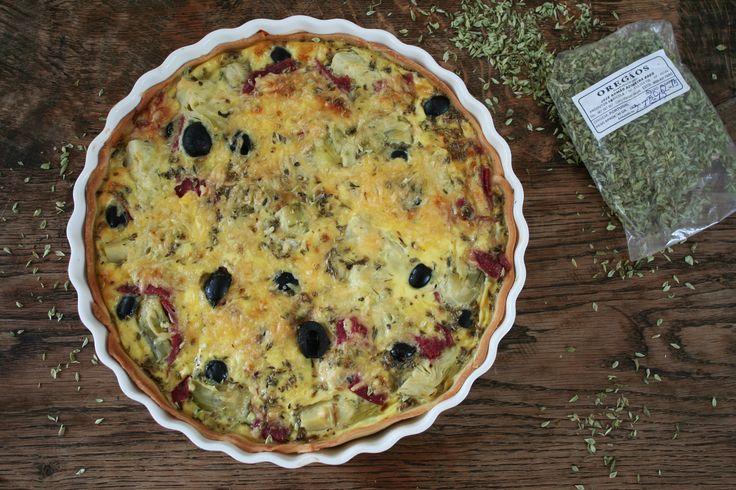 hartige taart met artisjokkenharten, salami en olijven****