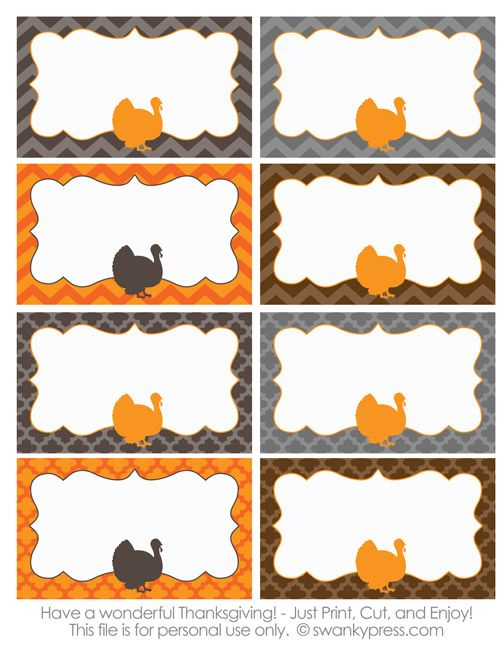free printable Thanksgiving food labels or name cards. You can use them to assign seats at the dining table or for labeling dishes