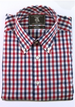 Maker & Company Button Down Shirt in Red and Navy Gingham: Birthday Giff, Style Mr, Preppy Classy Style, Giff Ideas