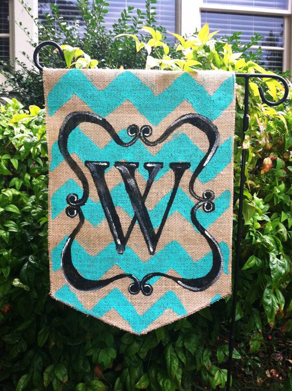 Burlap Garden Flag Teal Chevron And Black Scroll With Monogram On Etsy,  $20.00