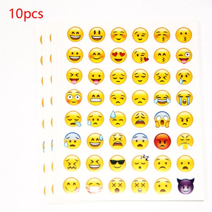 10pcs cut sticker 48 classic Emoji Smile face stickers for notebook albums , message Twitter Large Viny Instagram Classical toys
