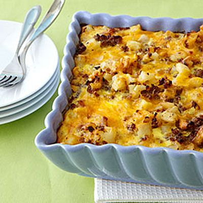 Sausage-Hash Brown Breakfast Casserole| This casserole combines true breakfast favorites—sausage, eggs, Cheddar cheese, and hash browns—in one filling and delicious Southern dish. | #Recipes | SouthernLiving.com