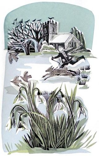 Snowdrops by Angela Harding, nature, snow, winter, print, design, drawing, illustration, dog, church, countryside, printmaking
