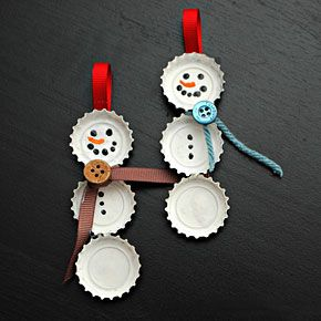 * Snowman from bottle caps