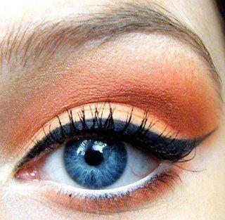 peach #makeup: Eye Makeup, Orange Eyeshadows, Cat Eye, Eye Colors, Wings Eyeliner, Colors Wheels, Blue Eye, White Eyeliner, Eye Liner