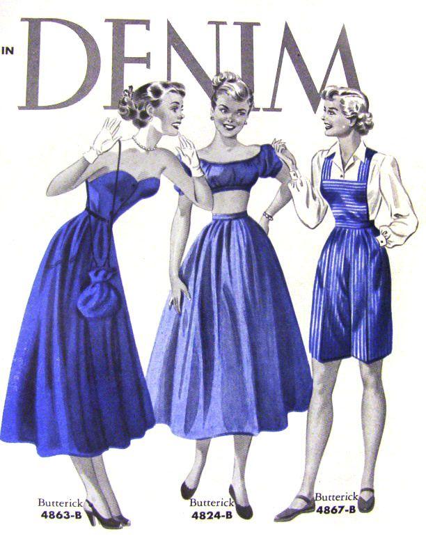 Delightful vintage denim fashions (Butterick, 1950). #vintage #1950s #summer