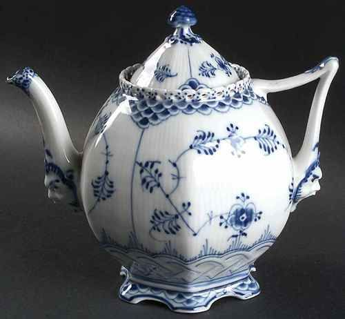 Gorgeous!! Royal Copenhagen tea pot. 5.25 in. Faces at bottom of handle and spout. Replacements. No marks shown.