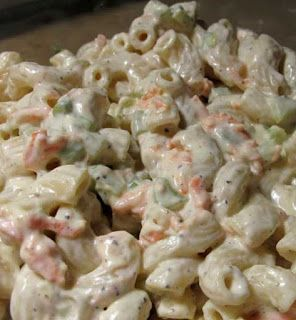1 lb salad macaroni  4 hard-boiled eggs (chopped)  1 small onion, finely diced  3 celery ribs, diced small  1 small sweet pepper, seeded and diced small (red or orange)  Dressing  2 cups light mayonnaise (do not use Miracle Whip)  1/2 cup sugar  1/8
