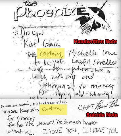 Newly released Kurt Cobain death note casts doubt on suicide - Celebrity Gossip and Movie News - Tribute.ca