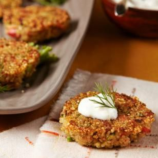 This recipe for Quinoa Cakes with Smoked Salmon was a favorite among staff. These crisp quinoa cakes spiked with smoked salmon and topped with lemony sour cream make a lovely appetizer.