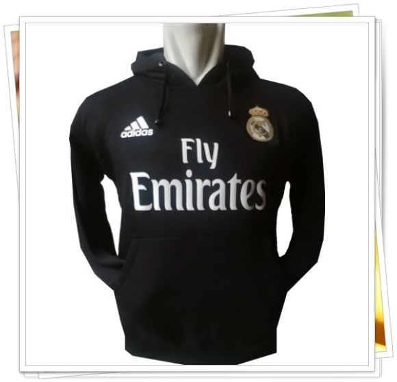 Jaket/Sweater Hoodie Bola - Real Madrid (Hitam)