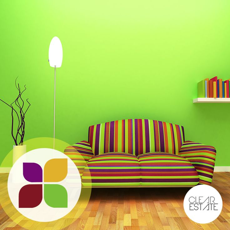 Neon green walls dramatise this living room, while the multicoloured sofa adds novelty. Quirky and youthful all the way. #ColourBar