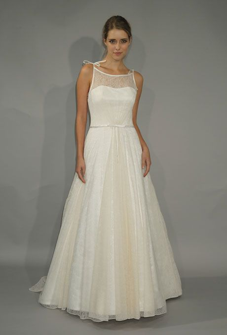 "Brides: Steven Birnbaum Collection - Fall 2012. ""Priscilla"" sleeveless Chantilly lace over satin A-line wedding dress with a bateau neckline, Steven Birnbaum Collection"