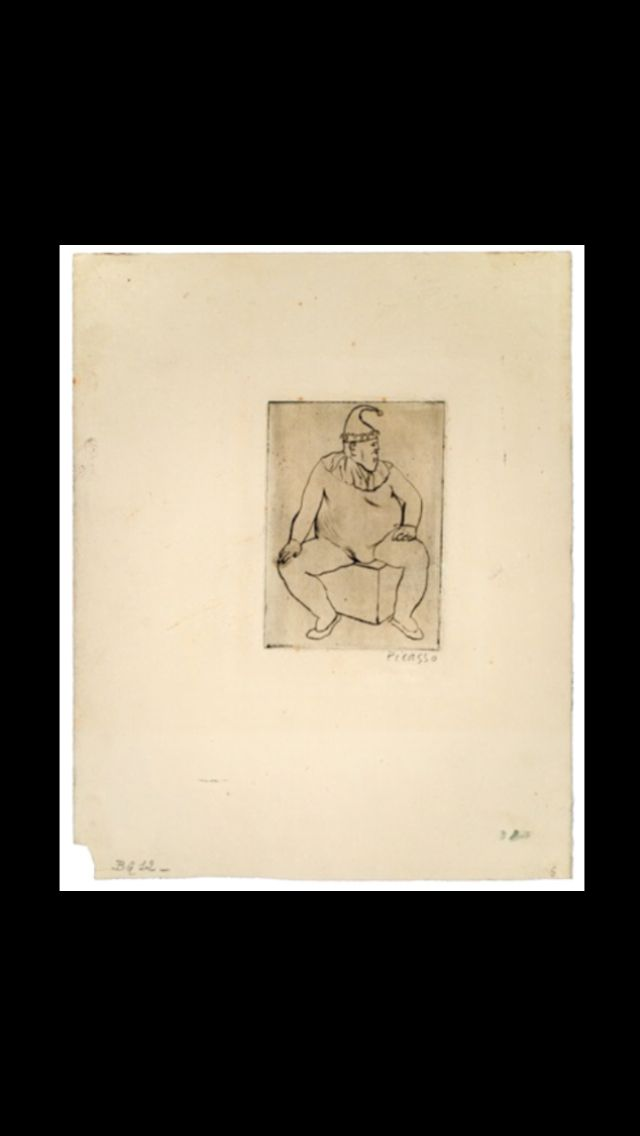 "Pablo Picasso - "" Le Saltimbanque au repos "" from "" The Saltimbanques Suite "", 1905 - Drypoint on an irregular sheet of Arches laid on paper - Plate : 4 3/4 x 3 3/8 in.; Sheet : 12 x 9 3/4 in. (..)"