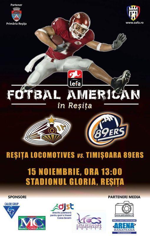 Primul meci de fotbal american la Reşiţa va fi Sâmbătă, 15 nov. ora 13:00 la stadionul Gloria, între Reşiţa Locomotives şi Timişoara 89ers.