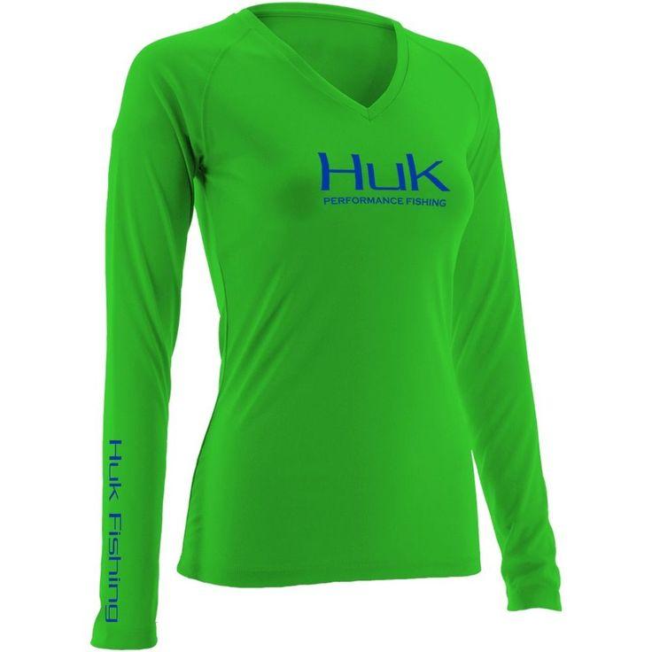 Huk Ladies Performance Long Sleeve Fishing Shirt H1200060, Neon Green #Huk #TShirt