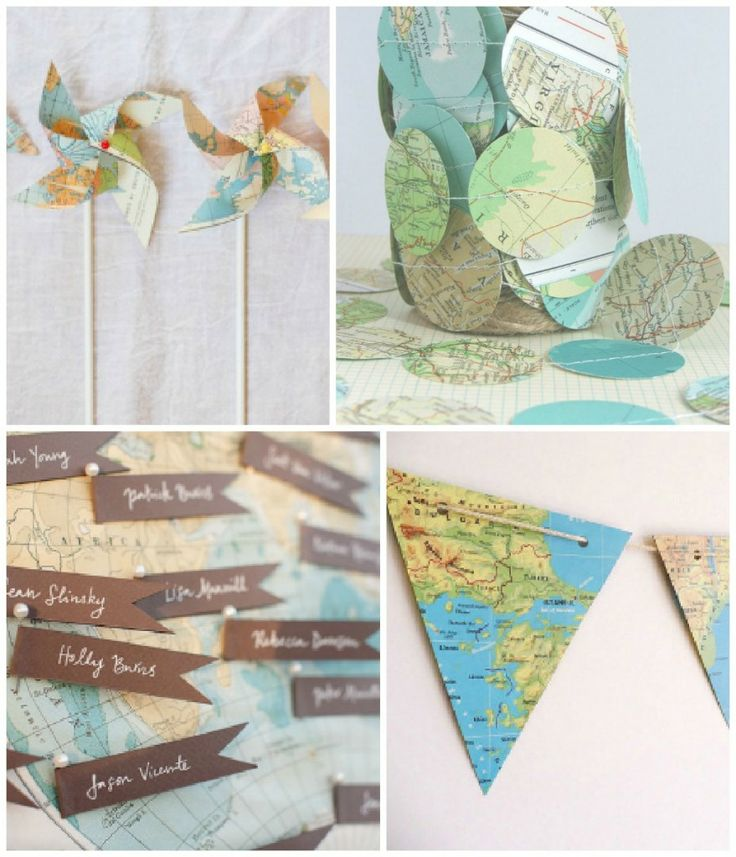Map garland (on Etsy) and map bunting