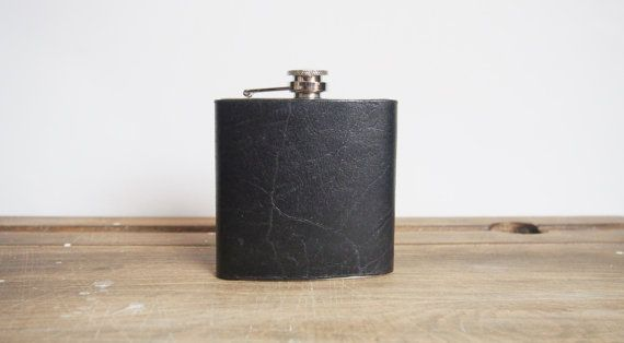 Personalized Black Leather Hip Flask. Great Christmas gift for a guy. Personalised gift for guy available on Etsy.