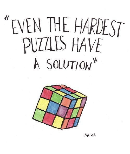 You might need time and help to solve the puzzle, but know that there is always a solution even to the most difficult puzzle out there.