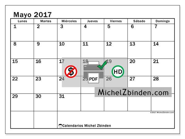 """Calendario mayo 2017 """"Tiberius"""" de Michel Zbinden (España)"""