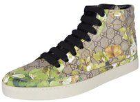 Gucci High Top Sneakers Ebony Beige/Blooms Flats