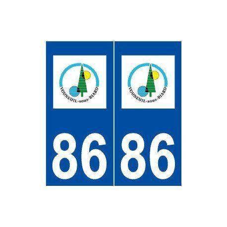86 Vouneuil-sous-Biard logo autocollant plaque stickers ville – droits: Autocollant plaque immatriculation 86 Vouneuil-sous-Biard logo…