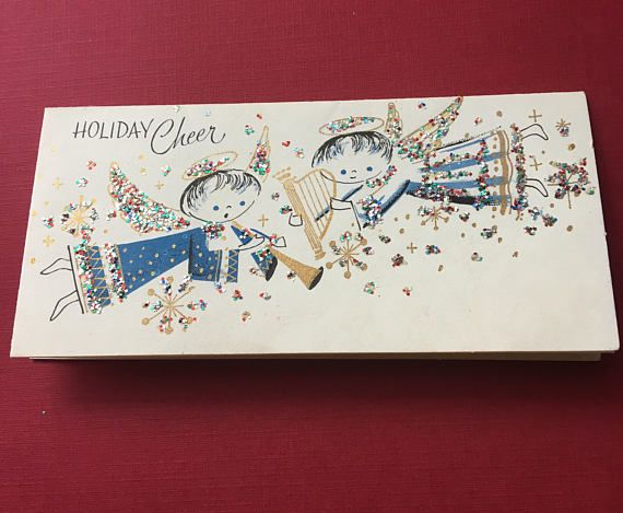 Singing Angels Christmas Card Blue Silver Sparkly Glitter