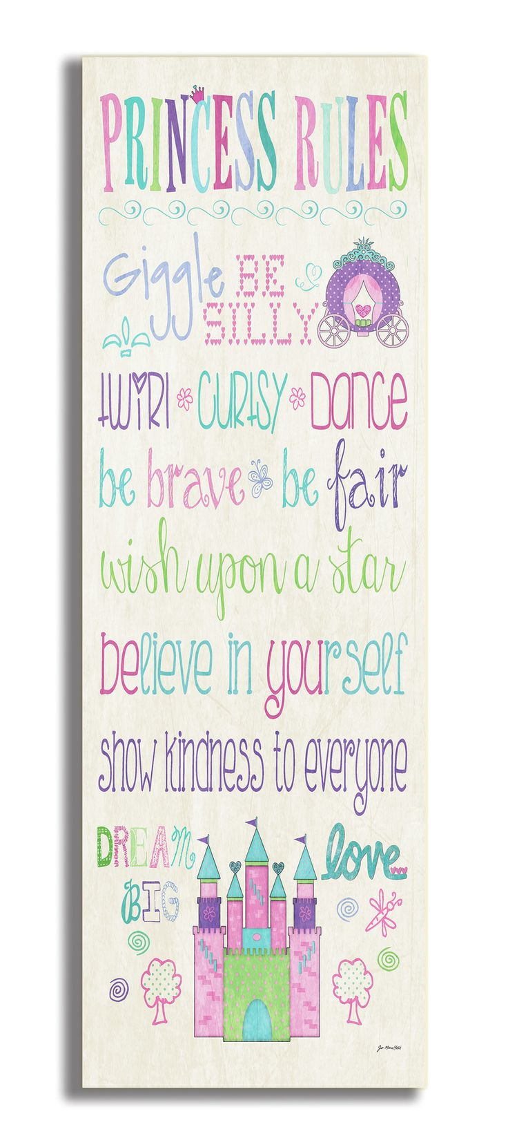 The Kids Room Princess Rules with Castle Typography Wall Plaque