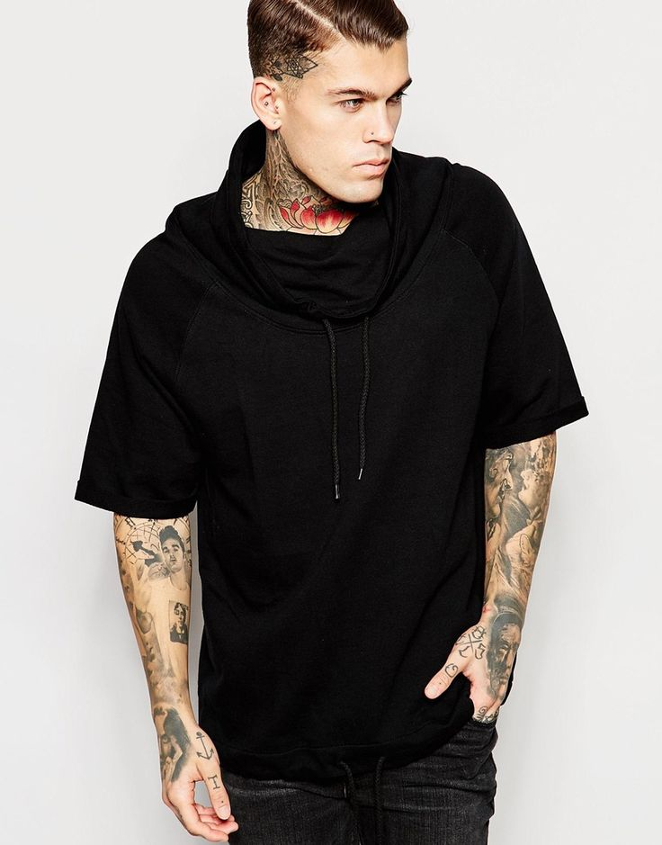 Image 1 of ASOS Short Sleeve Sweatshirt With Funnel Neck In Black