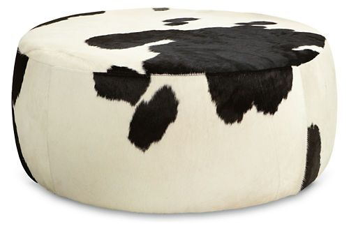 Lind Cowhide Round Ottomans Room And Board In 2019