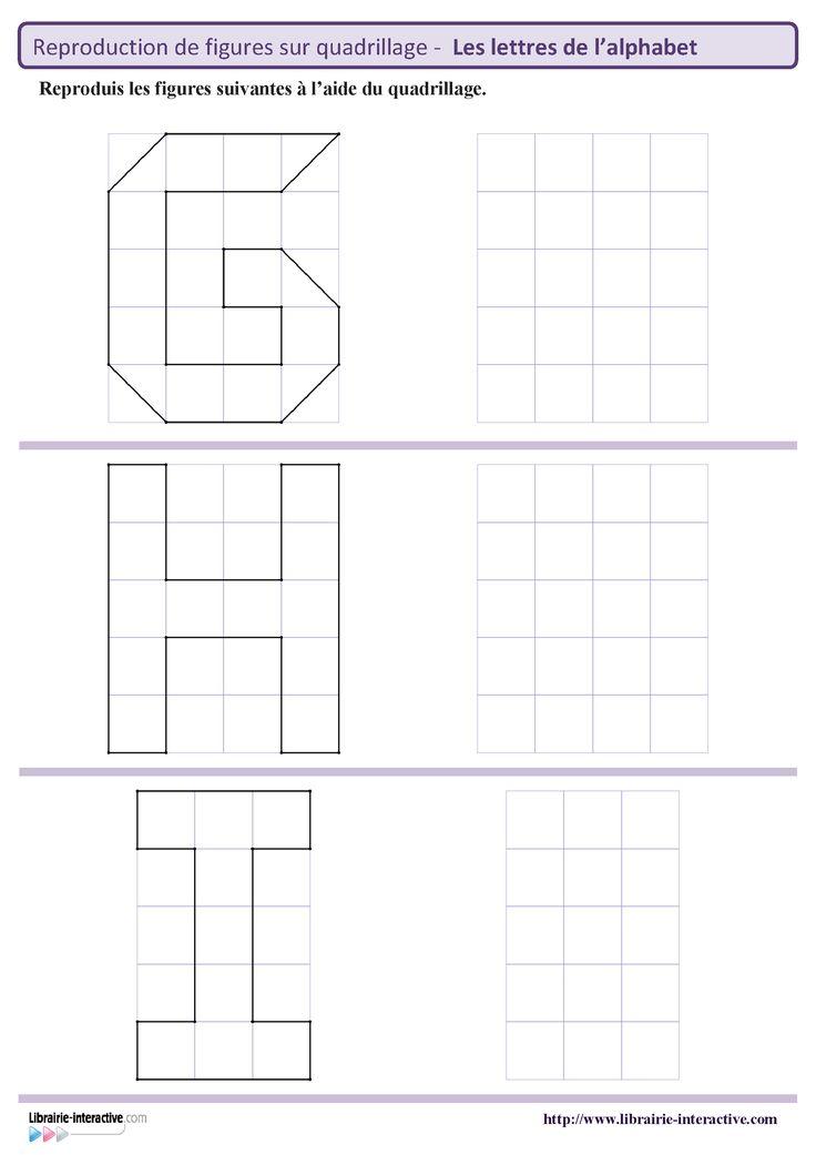 9 Fiches Pour Le Cycle 2 Gs Cp Ce1 Pour Reproduire Des Figures Lettres De L 39 Alphabet Sur