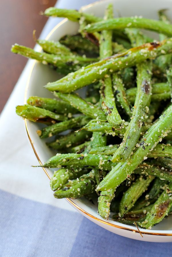 Roasted Green Beans with Parmesan and Basil