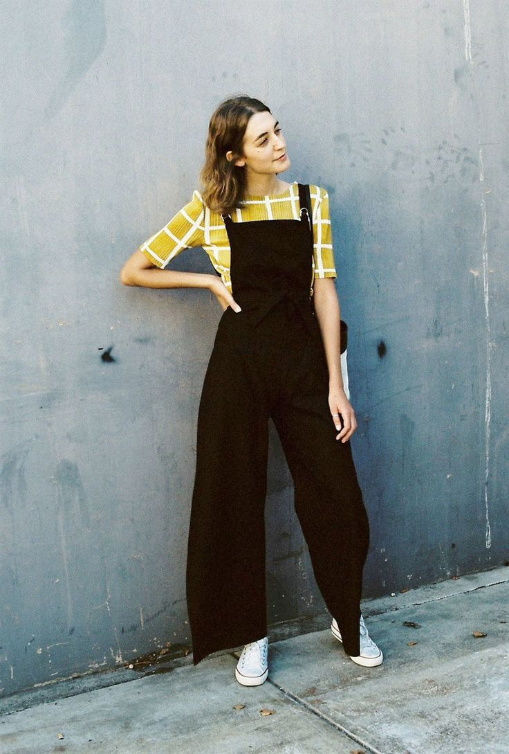 yellow grid blouse & black pinafore dungaree overalls // caves collect // sustainable/local manufacturing in Melbourne AU