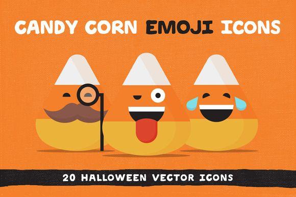 Candy Corn Halloween Emoji Icons by ryantheweave on @creativemarket