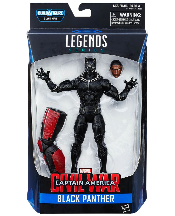 Hasbro Disney Marvel Marvel Legends Infinite Captain America: Civil War Giant-Man Series: Wave #2 Black Panther (Prince T'Challa) Action Figure 6 Inches Tall in Box with Leg of Giant-Man & Accessories Hasbro, Disney & Marvel 2016 http://www.amazon.com/Marvel-Legends-Captain-America-Panther/dp/B012MGTMUS/ref=sr_1_1?s=toys-and-games&ie=UTF8&qid=1462822758&sr=1-1&keywords=Marvel+Legends+Captain+America+Civil+War+Black+Panther+Action+Figure